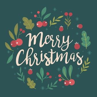 Weihnachtshintergrund mit schöner beschriftung