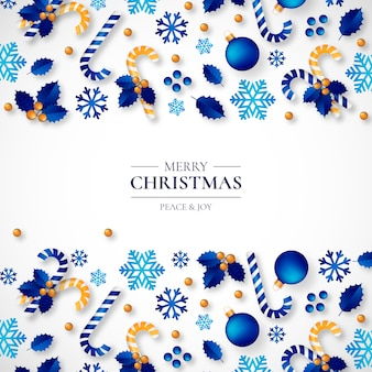 Weihnachtshintergrund mit schönen realistischen Verzierungen