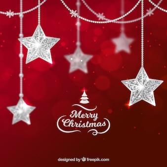 Weihnachtshintergrund mit silbernen Sternen