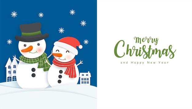 Weihnachtshintergrund mit snoman und kopierraum im papierschnittstil.
