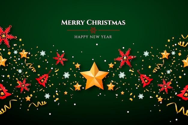 Weihnachtshintergrund mit sternen und dekorationen