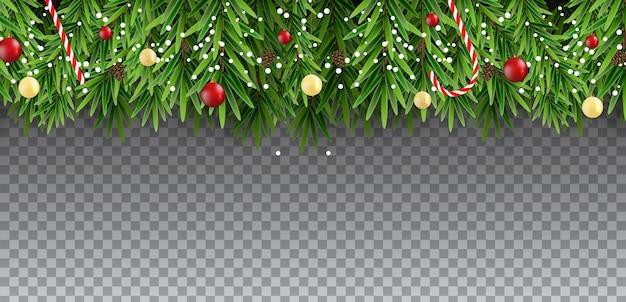Weihnachtshintergrund mit tanne und kugeln auf transparentem hintergrund