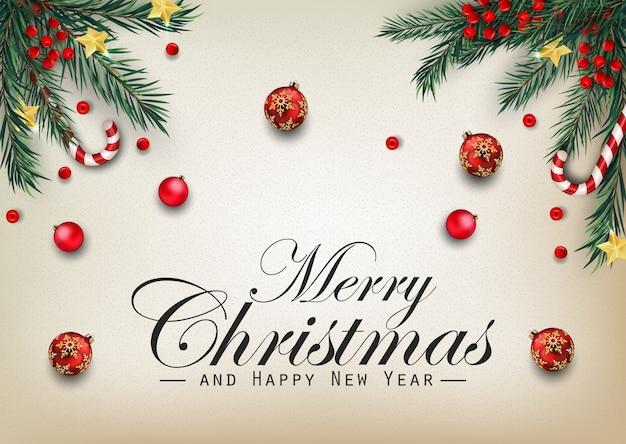 Weihnachtshintergrund mit tannenbaumasten und -bällen