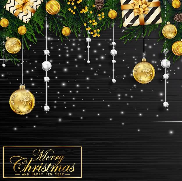 Weihnachtshintergrund mit tannenbaumasten und -dekorationen