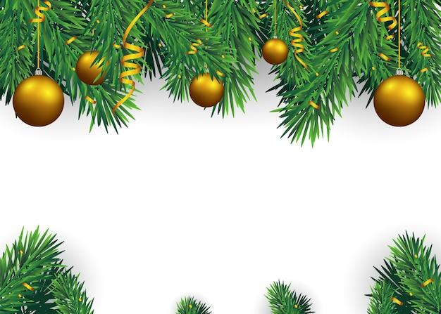 Weihnachtshintergrund mit tannenzweigen und goldenen bällen