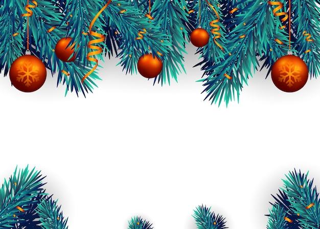 Weihnachtshintergrund mit tannenzweigen und roten bällen