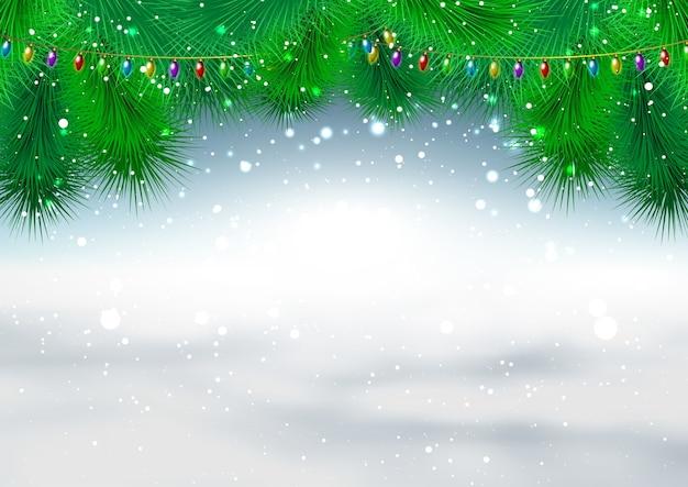 Weihnachtshintergrund mit tannenzweigen und schneeflocken