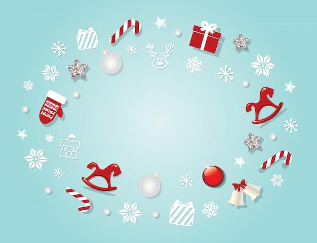 Weihnachtshintergrund mit traditionellen dekorativen elementen.