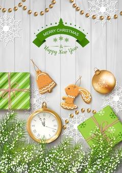 Weihnachtshintergrund mit uhr und geschenken