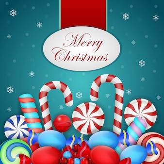 Weihnachtshintergrund mit verschiedenen süßigkeiten