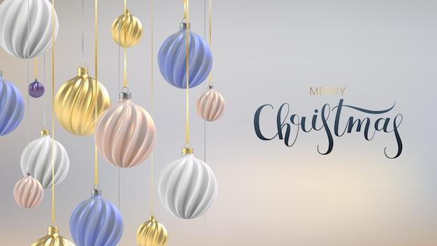 Weihnachtshintergrund mit weihnachtskugeln von perlmuttrosa, -gold und -blau, eine spiralkugel auf einem vertikalen farbhintergrund, mit der inschrift weihnachten.