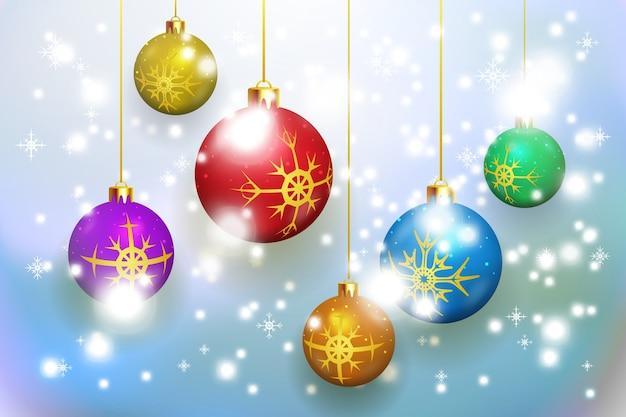 Weihnachtshintergrund mit weihnachtskugelvektormuster für karten und einladungen