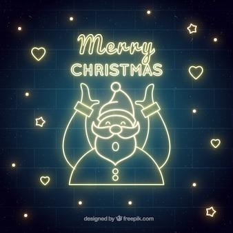 Weihnachtshintergrund mit weihnachtsmann von neonlichtern