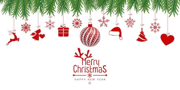 Weihnachtshintergrund mit weihnachtsres kugeln, schneeflocken