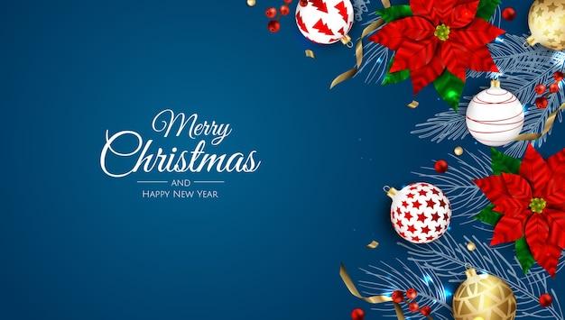 Weihnachtshintergrund mit weihnachtsstern und bällen