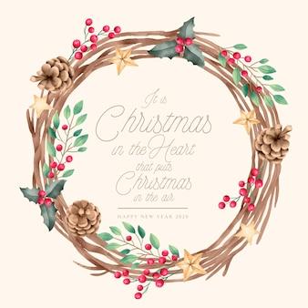 Weihnachtshintergrund mit weinlesekranz