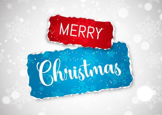 Weihnachtshintergrund mit zerrissenem papierdesign auf schneeflocken und sternen