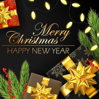 Weihnachtshintergrund mit zweigen und geschenkboxen