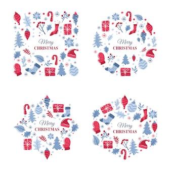 Weihnachtshintergrund oder rahmensammlung, die von winterelementen bildet