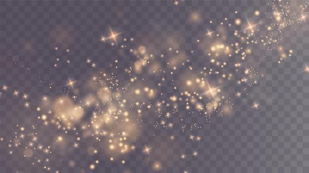 Weihnachtshintergrund pulver png magisch glänzender goldstaub feine glänzende staub-bokeh-partikel fallen