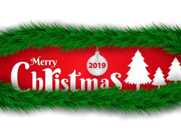 Weihnachtshintergrund verziert mit weihnachtsbaumblättern.