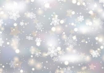 Weihnachtshintergrund von Schneeflocken und von Sternen