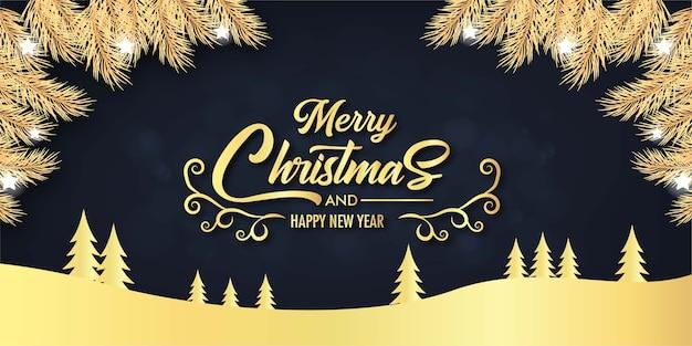 Weihnachtshintergrunddekoration mit blättern und weihnachtsbaum