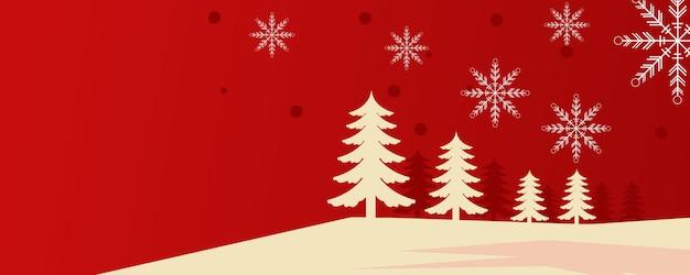 Weihnachtshintergrunddesign von kiefer und schneeflocke mit schnee, der in die wintervektorillustration mit roter und goldener farbe fällt