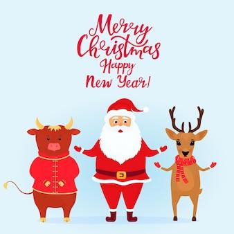 Weihnachtshirsch, weihnachtsmann und stier. ochsensymbol des chinesischen neuen jahres.