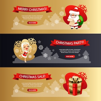 Weihnachtshorizontale fahnen eingestellt gold und dunkelheit