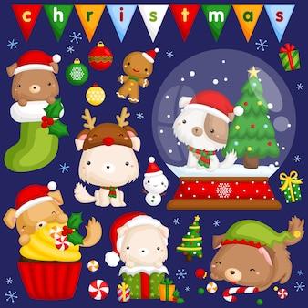 Weihnachtshund-bildsatz