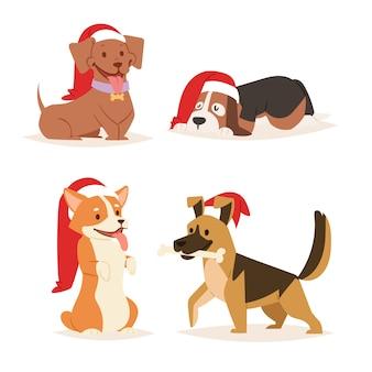 Weihnachtshund niedlichen cartoon welpenfiguren illustration heimtiere hund verschiedene weihnachten feiern posen in santa red hat