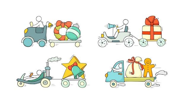 Weihnachtsikonen eingestellt - leute mit feiertagssymbolen. vektor für weihnachts- und neujahrsfeier.