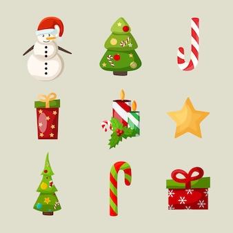 Weihnachtsikonen eingestellt mit schneemann weihnachtsbaum süßigkeiten geschenk kerze stechpalme beere und stern isoliert