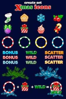 Weihnachtsikonen für slots. erstellen sie festgelegte neujahrssymbole auf einer separaten ebene. assets 2d-spiel