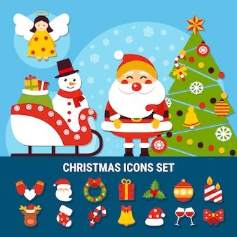 Weihnachtsikonen gesetzt