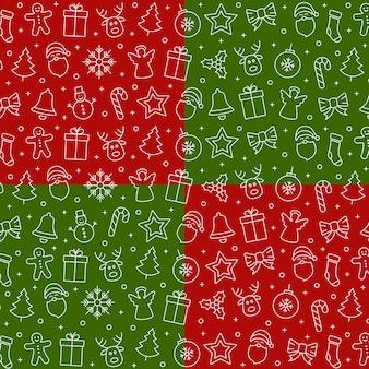 Weihnachtsikonen-musterelemente roter grüner hintergrund