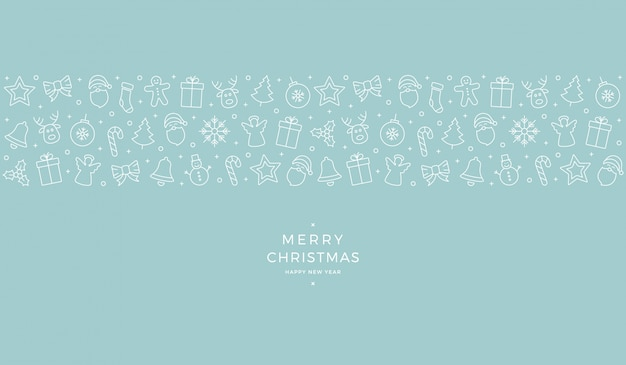 Weihnachtsikonenelemente banner blauer hintergrund