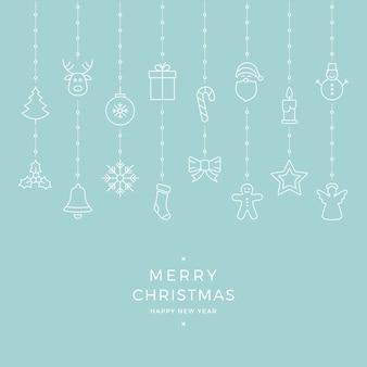 Weihnachtsikonenelemente, die blauen hintergrund hängen