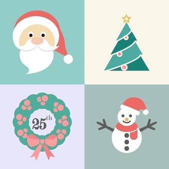 Weihnachtsikonensatz, sankt, weihnachtsbaum, weihnachtskranz und schneemann, vektorillustration