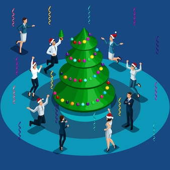 Weihnachtsillustration, isometrische männer und frauen, die um den weihnachtsbaum springen