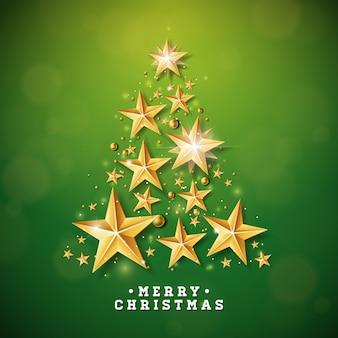 Weihnachtsillustration mit dem weihnachtsbaum gemacht von den sternen