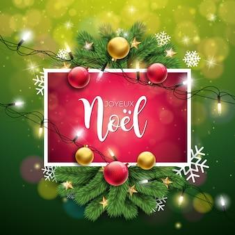Weihnachtsillustration mit französischer joyeux noel typography auf glänzendem grünem hintergrund