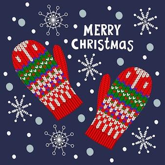Weihnachtsillustration mit handschuhen und schneeflocke