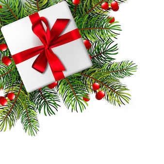 Weihnachtsillustration mit realistischen tannenzweigen.