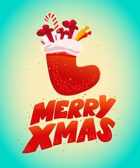 Weihnachtsillustration mit strumpfgeschenken und geschenkboxen und süßigkeiten