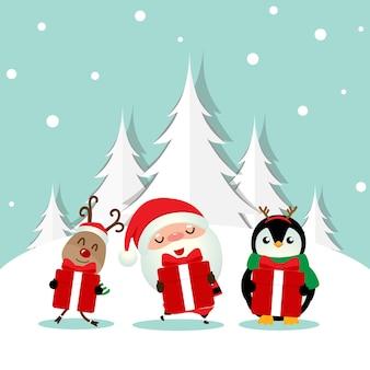 Weihnachtsillustration mit weihnachtsmann, pinguin und rentier, die geschenke halten