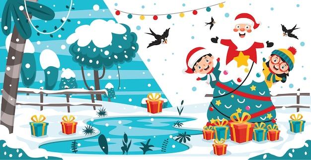 Weihnachtsillustration mit zeichentrickfiguren