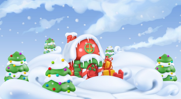 Weihnachtsillustration. winterlandschaft 3d vektorillustration