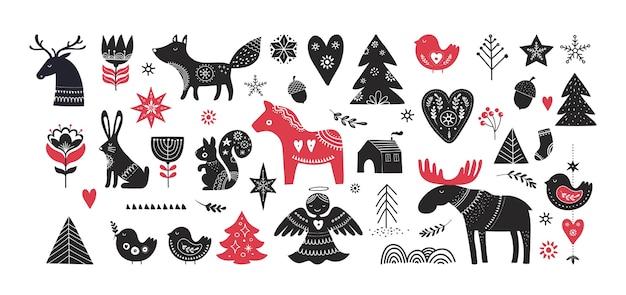 Weihnachtsillustrationen, handgezeichnete elemente und ikonen des fahnenentwurfs im skandinavischen stil